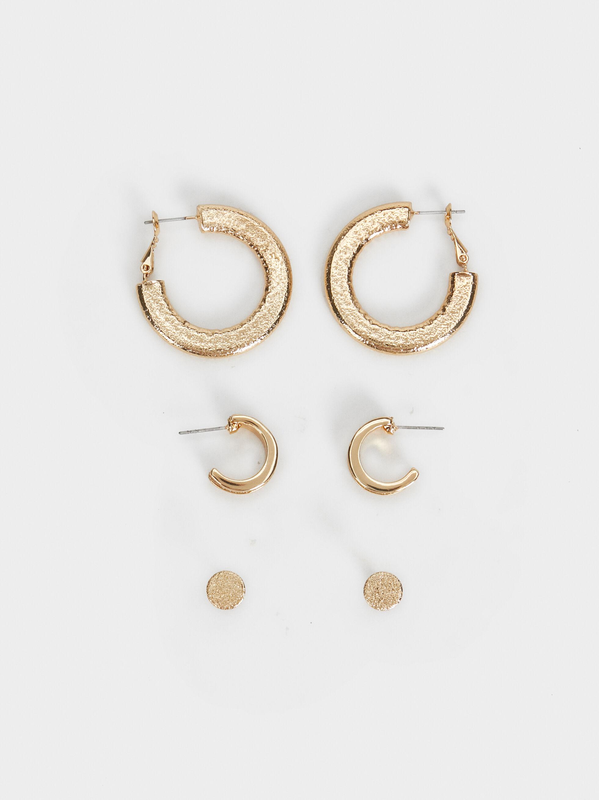 Set Of Basic Earrings, Golden, hi-res