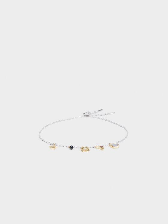 Adjustable 925 Silver Bracelet With Pendant, Multicolor, hi-res
