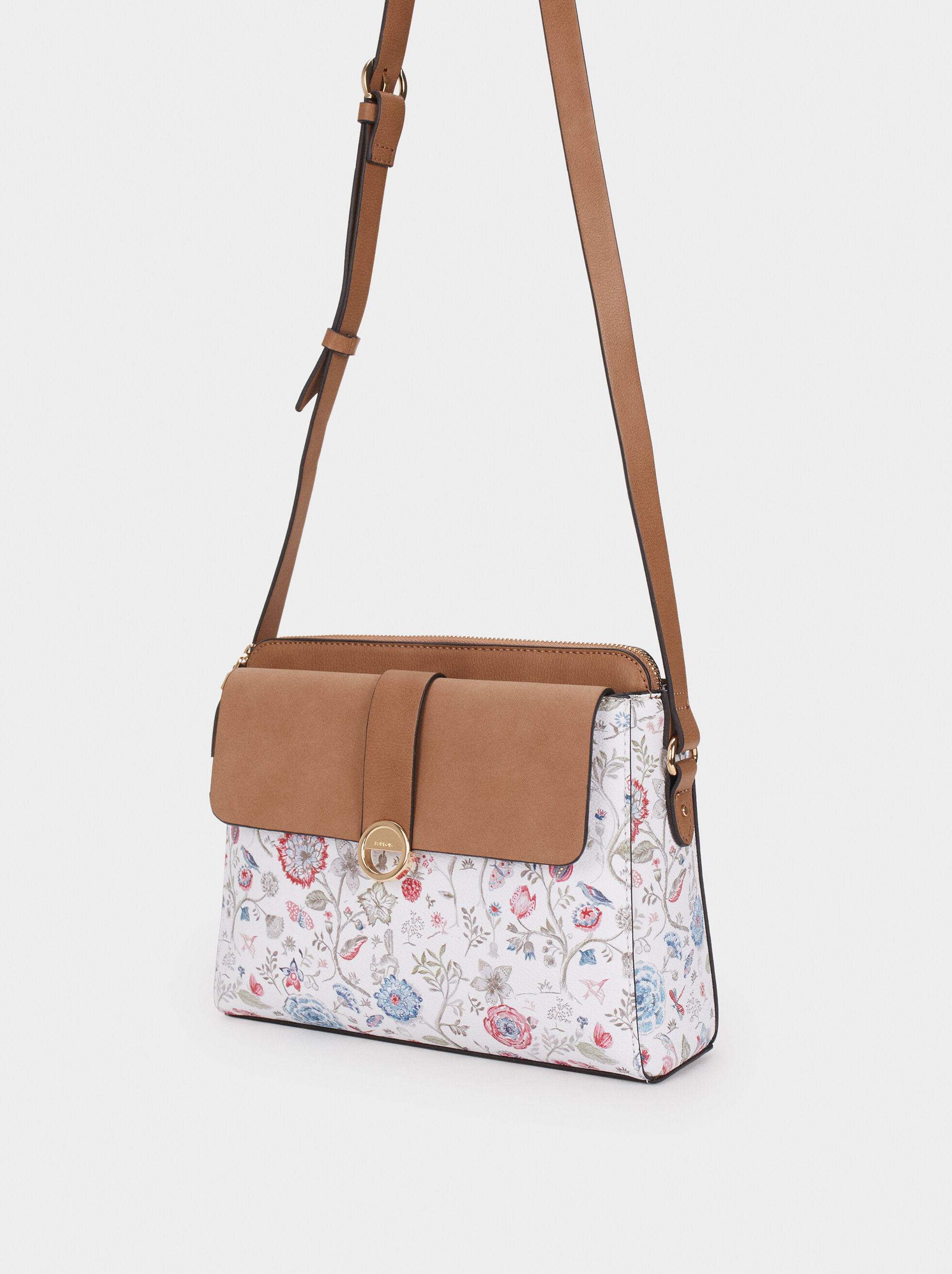 Floral Print Shoulder Bag, Pink, hi-res