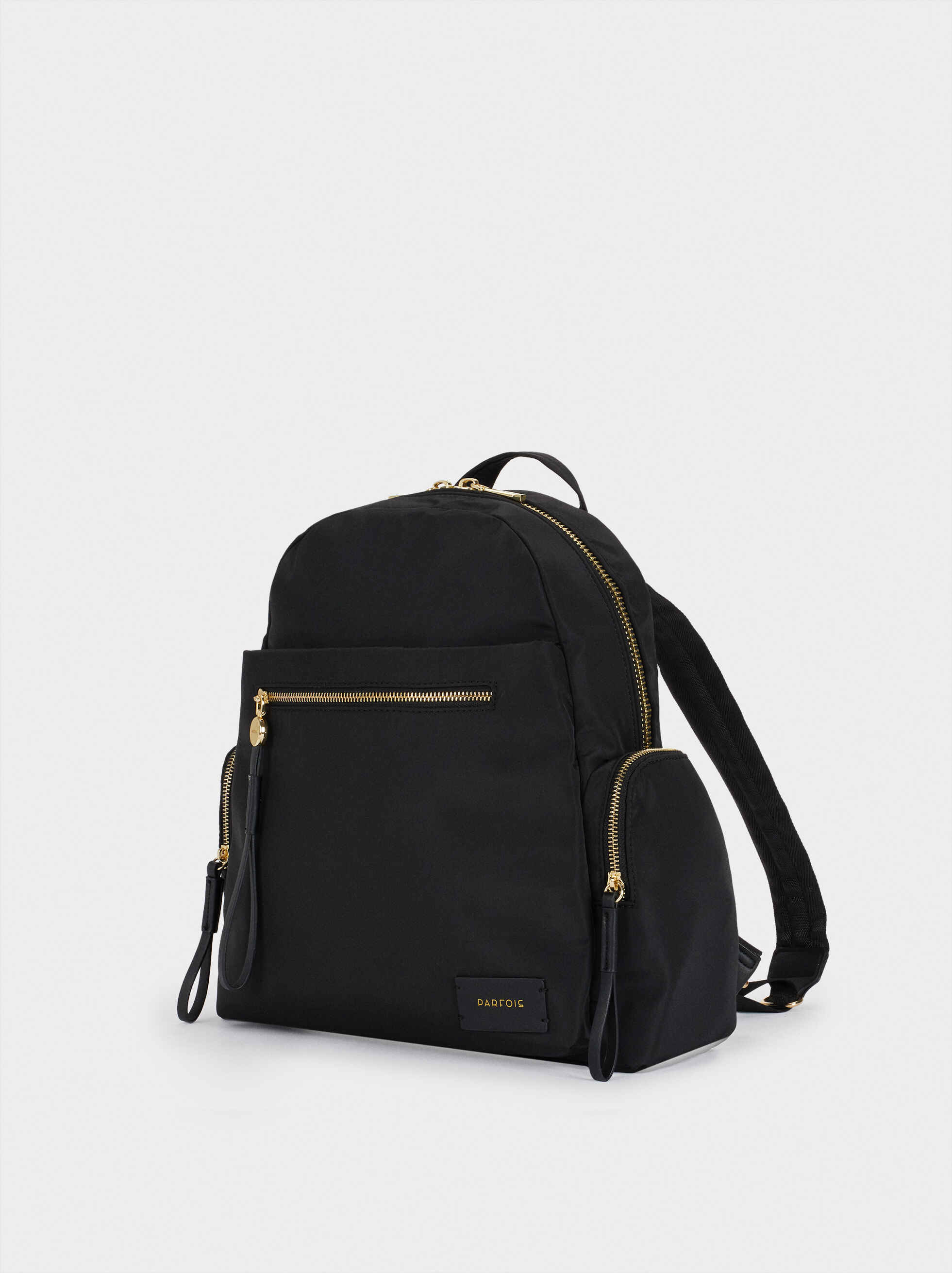 Nylon Backpack With Outside Pockets, Black, hi-res