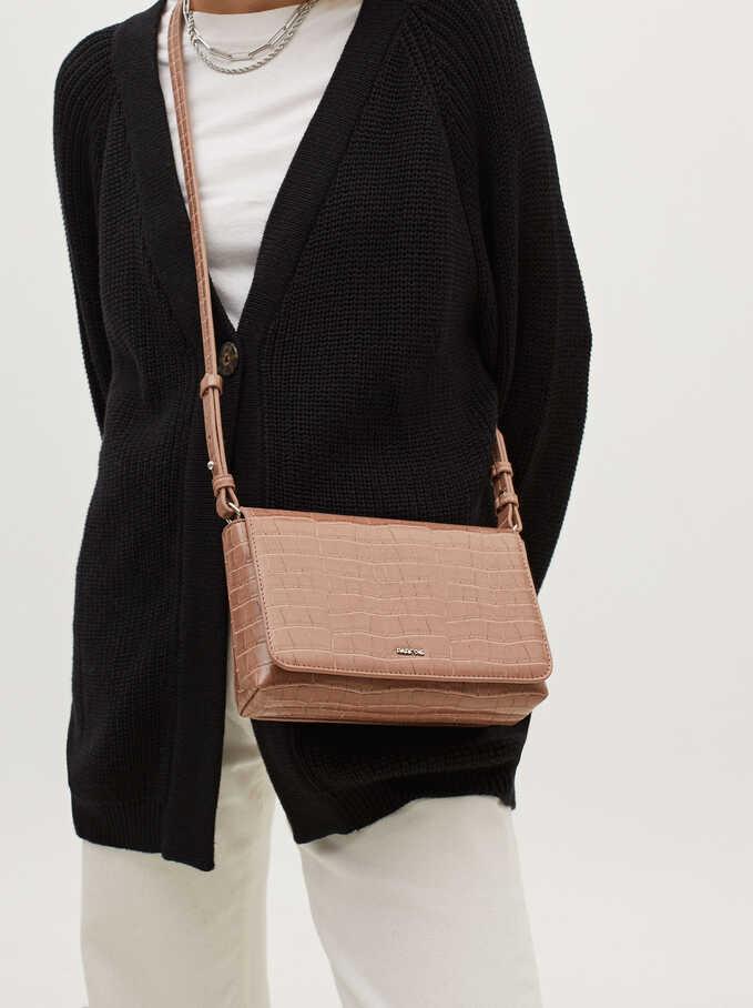 Crossbody Bag With Embossed Animal Print, Pink, hi-res