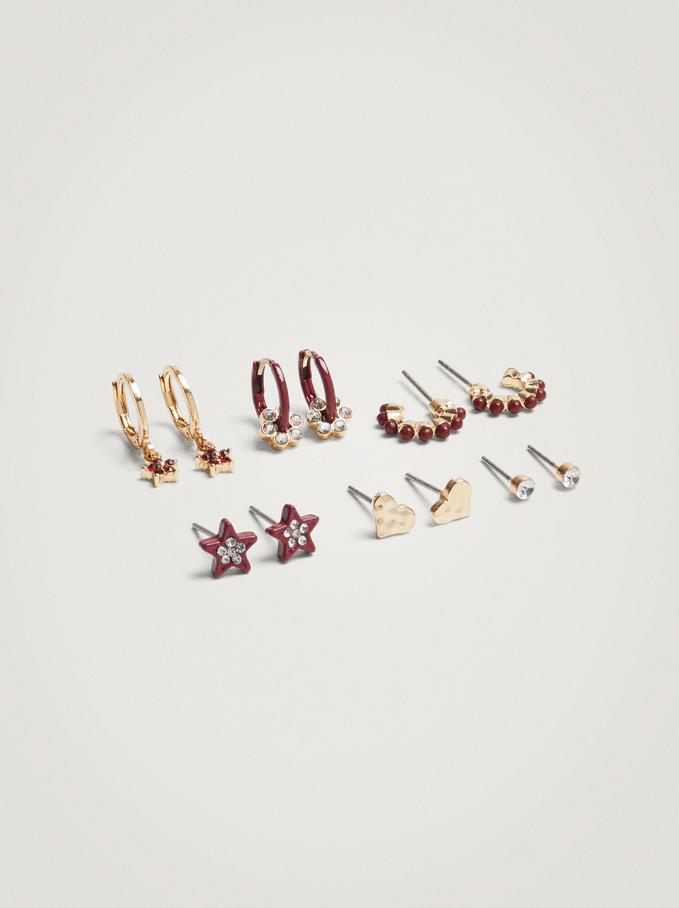Set Of Hoop Earrings With Charms, Bordeaux, hi-res