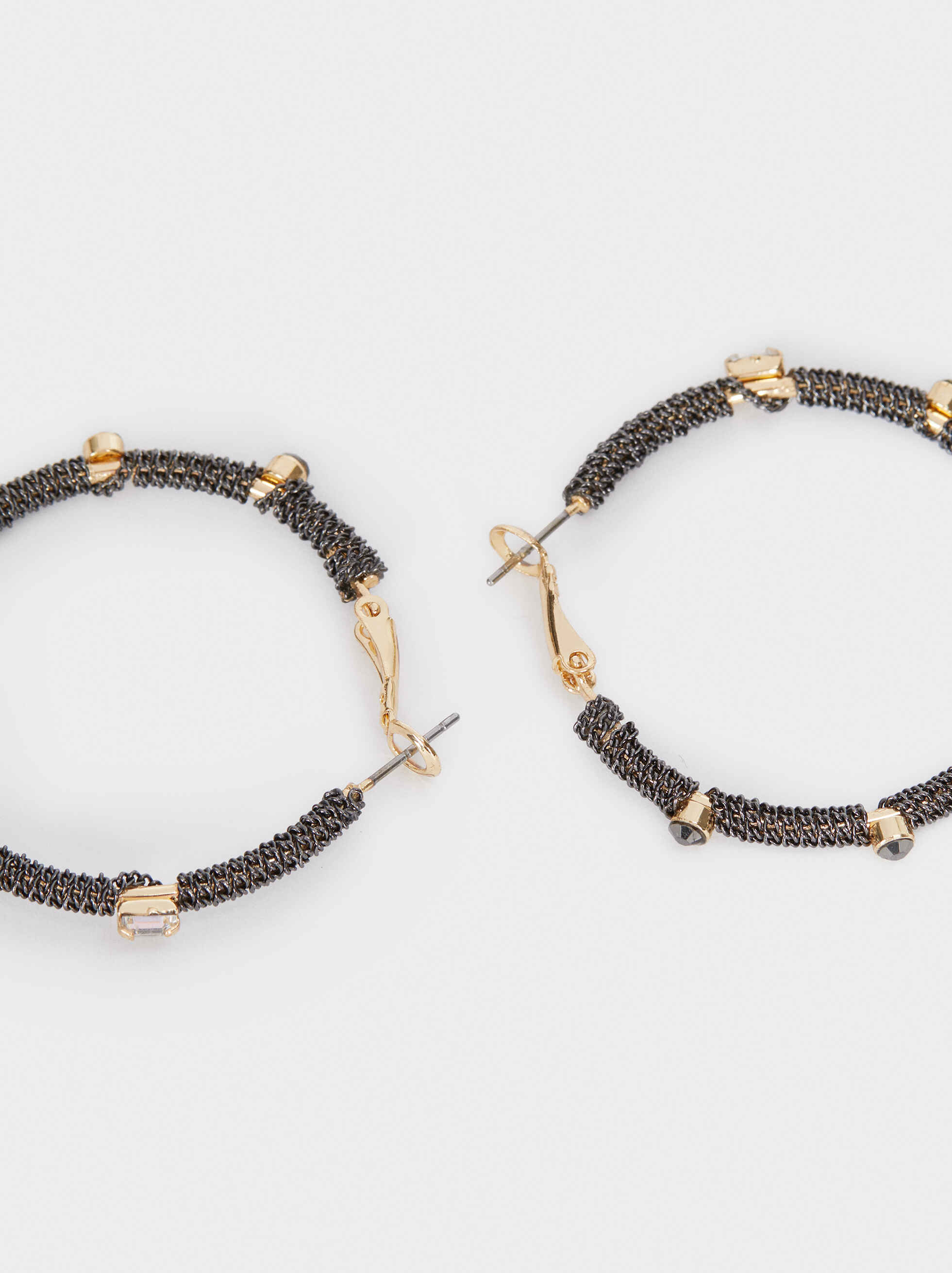 Medium Metal Hoop Earrings, Multicolor, hi-res