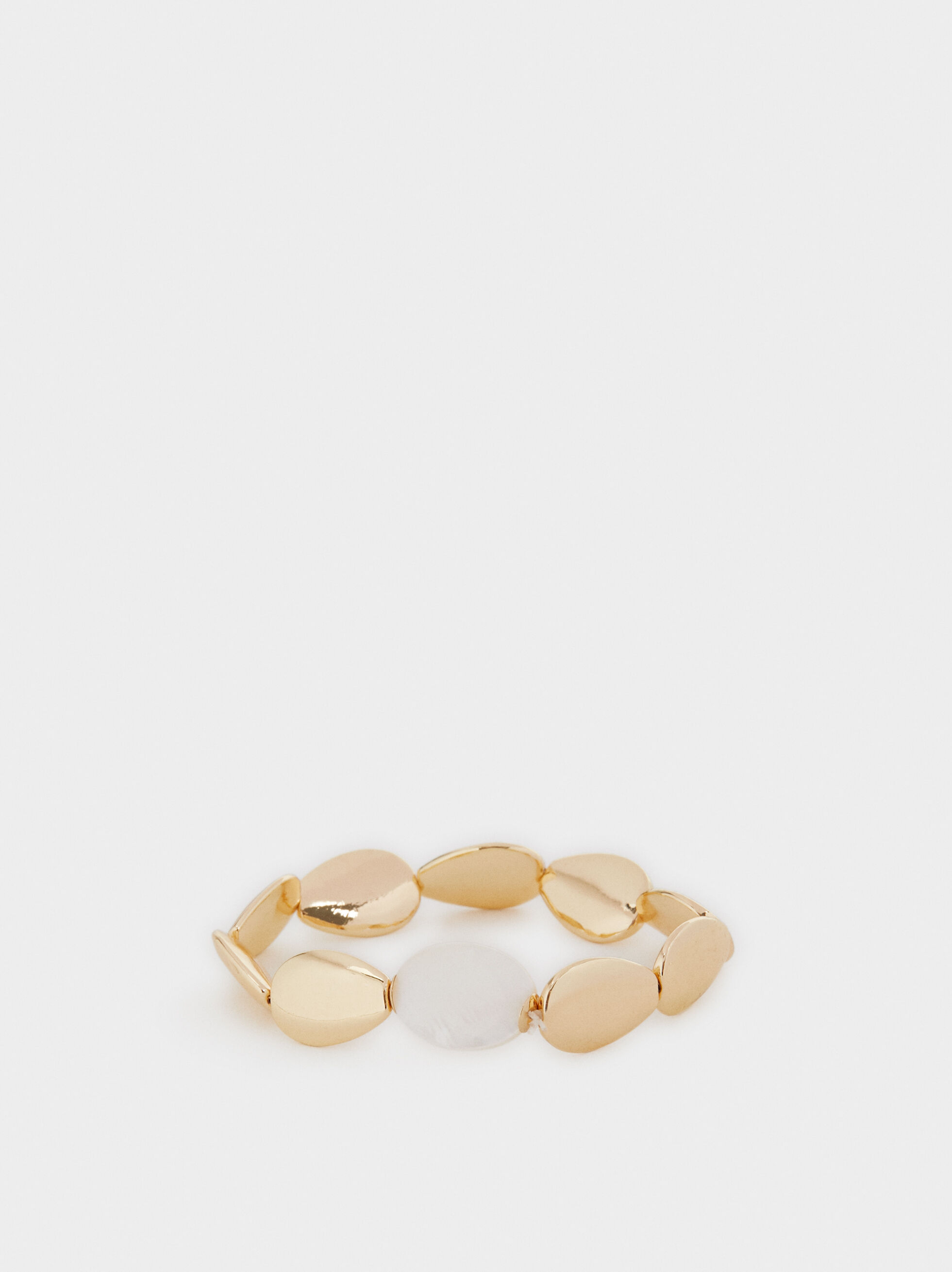 Gold Elastic Bracelet With Shells, , hi-res