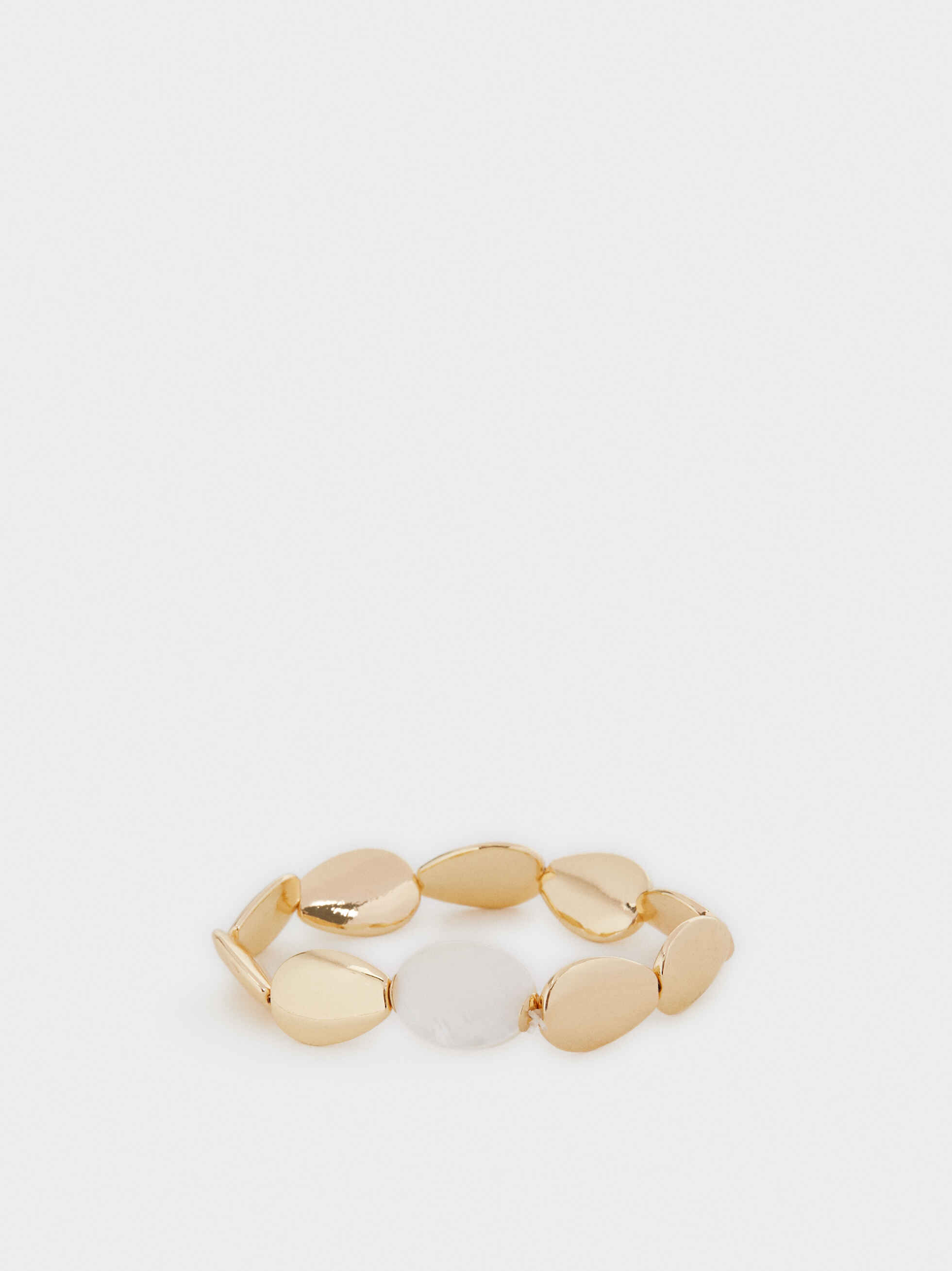 Gold Elastic Bracelet With Shells, , hi-res