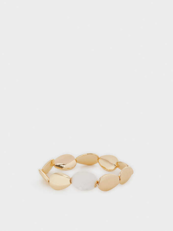 Gold Elastic Bracelet With Shells, Golden, hi-res