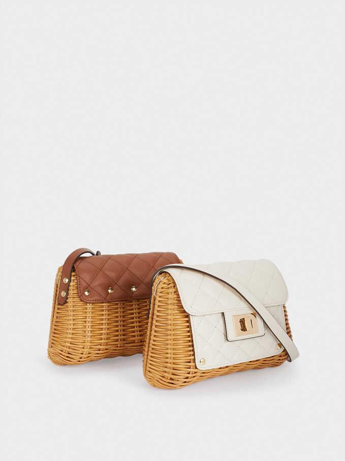 Combined Raffia Textured Crossbody Bag, Ecru, hi-res