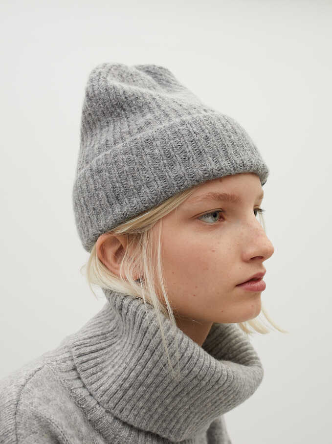 Knitted Turn-Up Stay Cool Hat, Grey, hi-res