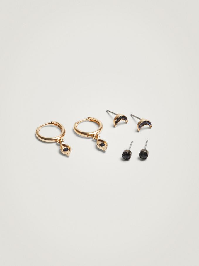 Set Of Hoop Earrings With Charms, Blue, hi-res