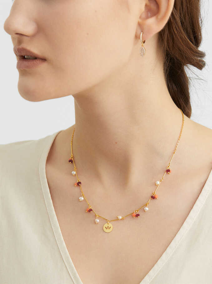 Short Necklace With Pendants, Coral, hi-res