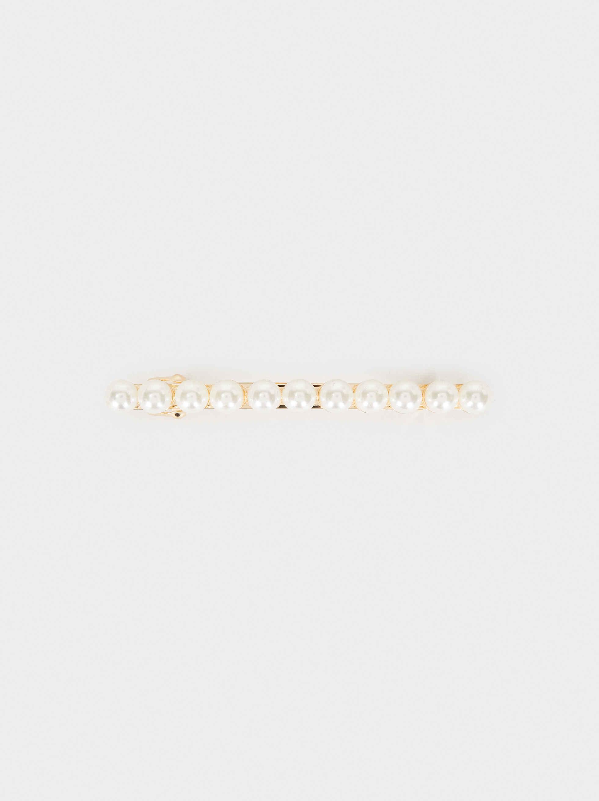 Horquilla Con Perlas, Blanco, hi-res