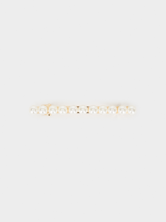 Faux Pearl Hairclip, White, hi-res