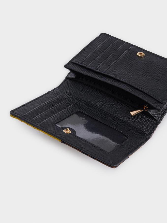 Portefeuille Compact Motif Patchwork, Noir, hi-res