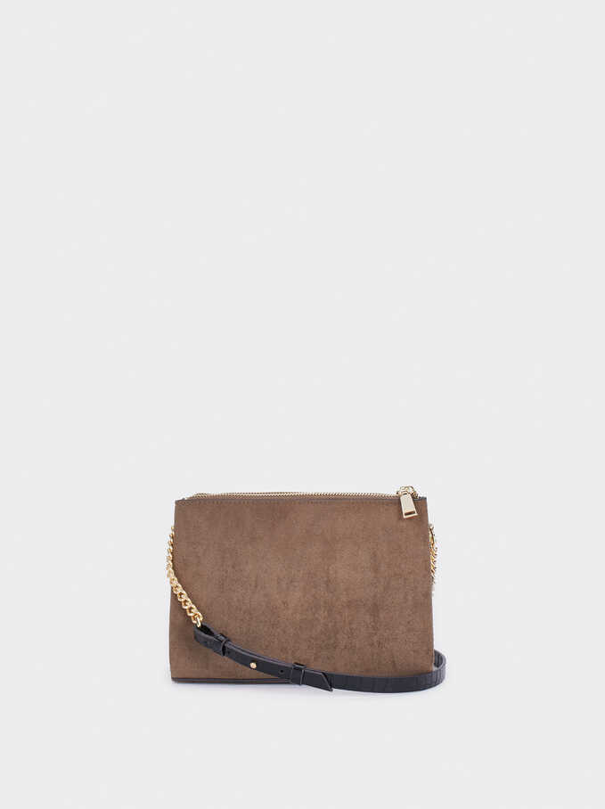 Faux Suede Crossbody Bag With Embossed Animal Print Strap, Brown, hi-res