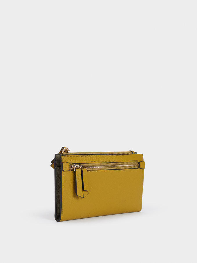 Plain Zipped Purse, Yellow, hi-res
