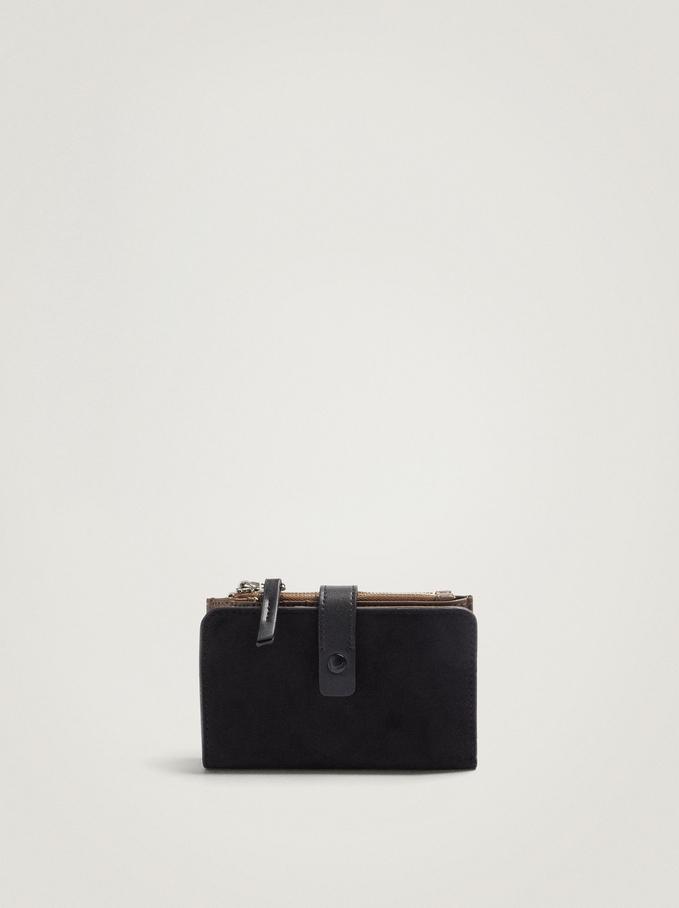 Compact Faux Suede Wallet, Black, hi-res