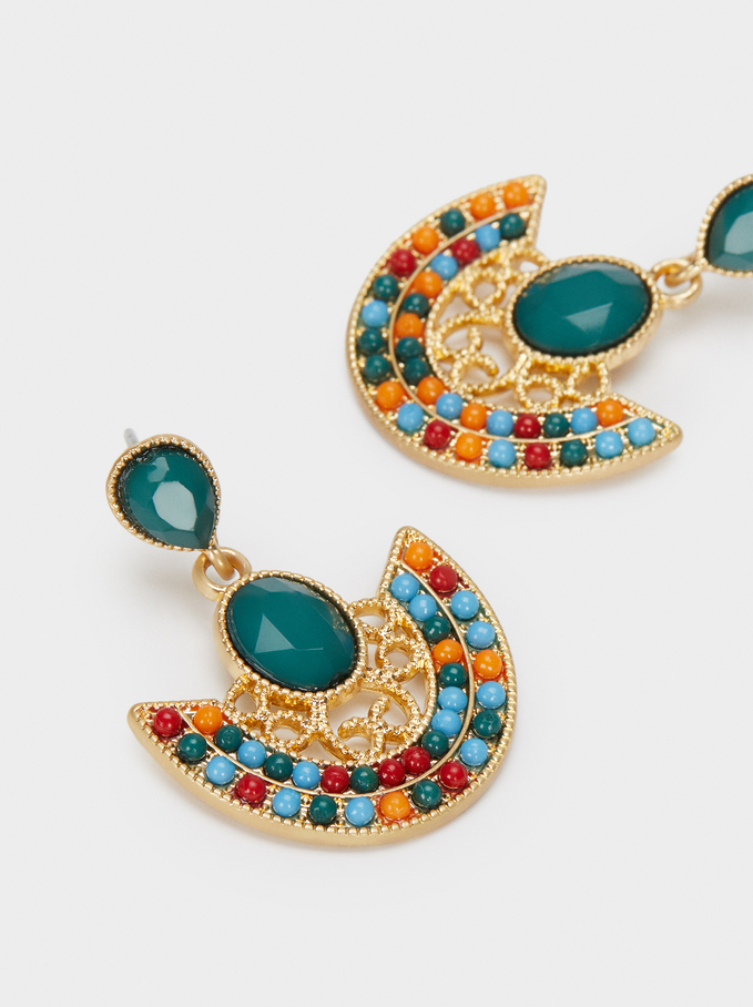 Medium Gold Earrings, Multicolor, hi-res