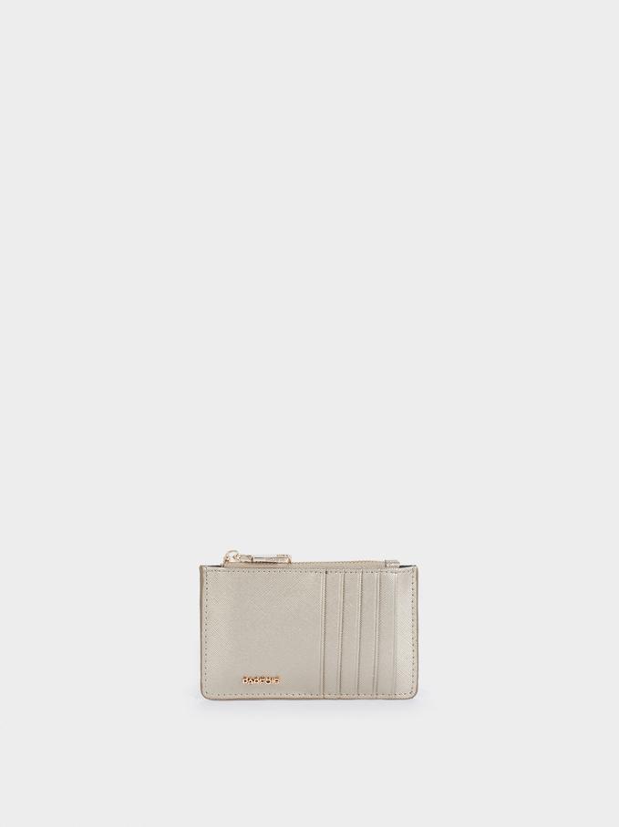 Plain Card Holder Purse, Silver, hi-res