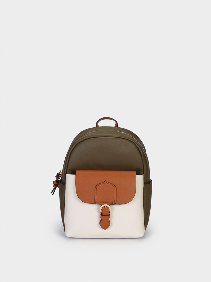 Combined Backpack With Exterior Pocket, Khaki, hi-res