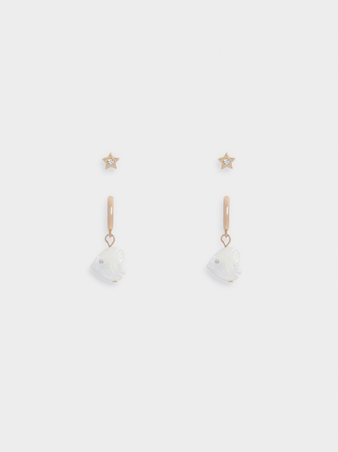 Set Of Earrings With Shell And Charms, Golden, hi-res