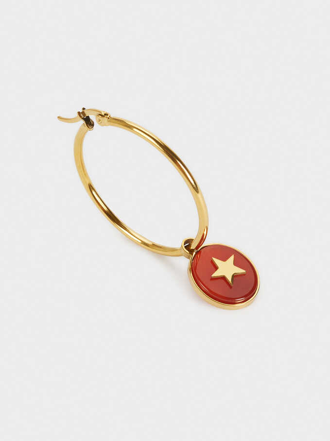 Stainless Steel Hoops With Stone And Star, Coral, hi-res