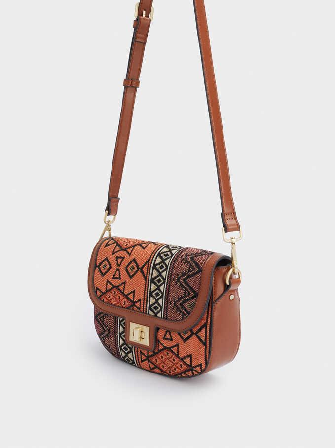 Jacquard Crossbody Bag, Orange, hi-res