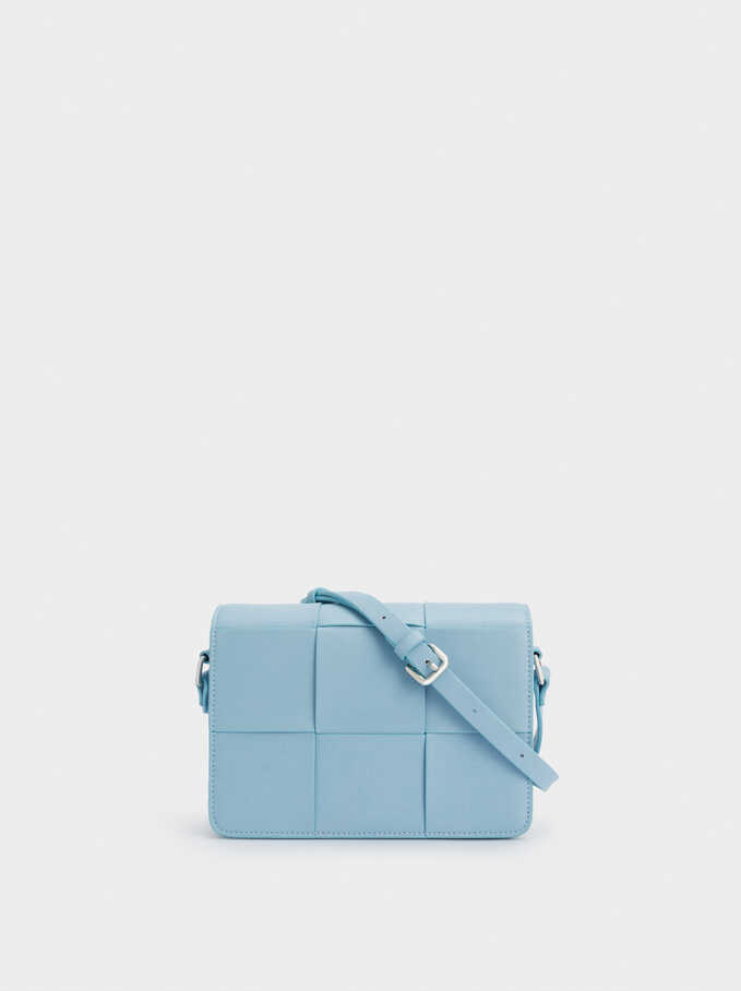 Braided Crossbody Bag With Front Flap Closure, Blue, hi-res