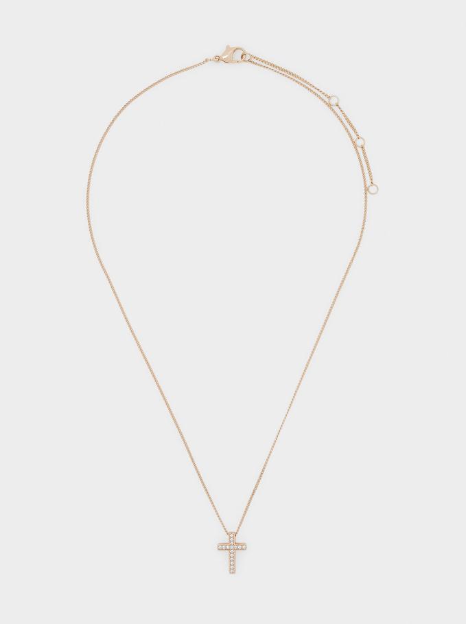 Short Cross Necklace With Cubic Zirconia, Golden, hi-res
