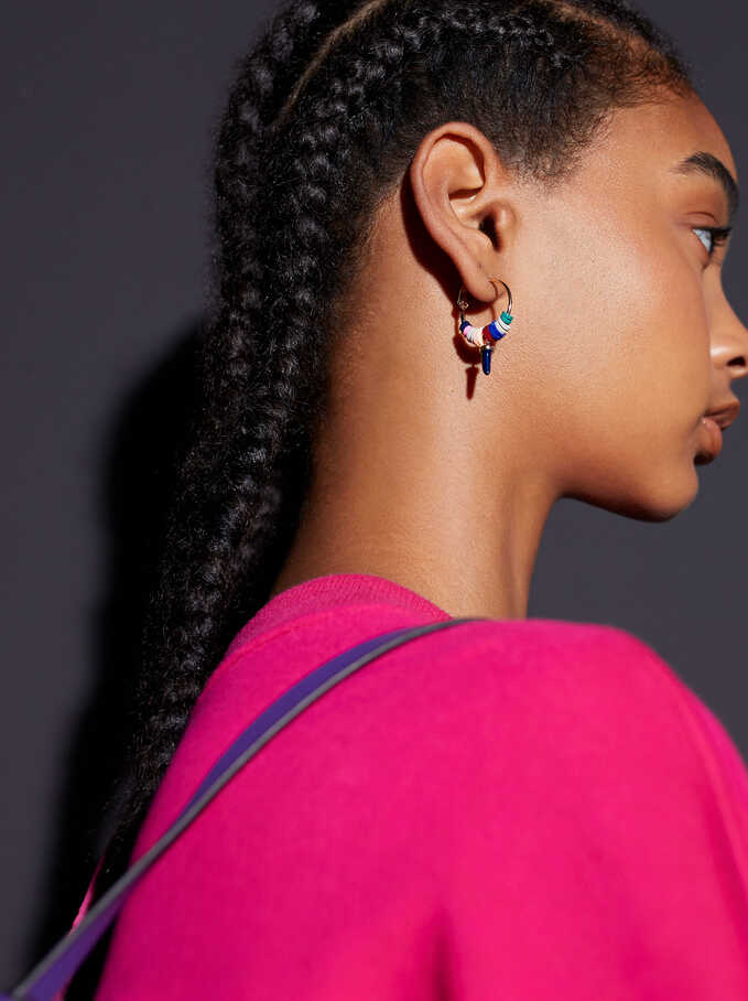 Hoop Earrings With Horn And Beads, Multicolor, hi-res