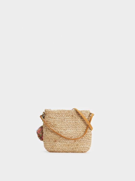 Faux Raffia Crossbody Bag, , hi-res