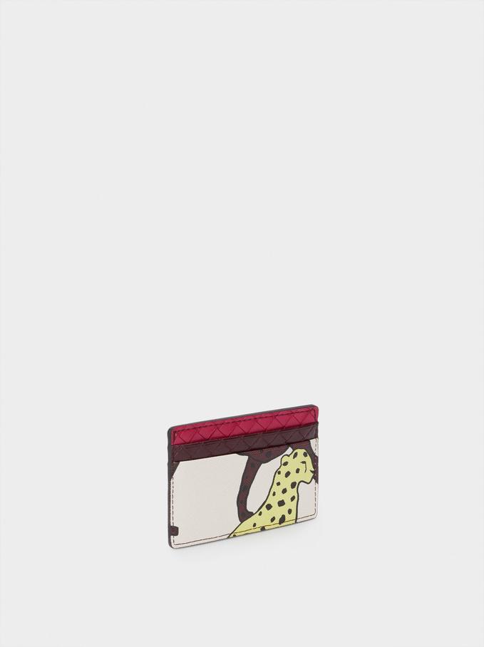 Animal Print Card Holder, Ecru, hi-res