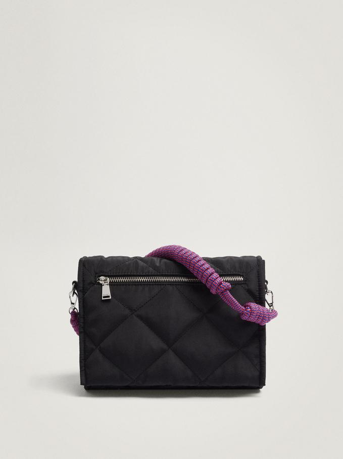 Quilted Nylon Shoulder Bag, Black, hi-res