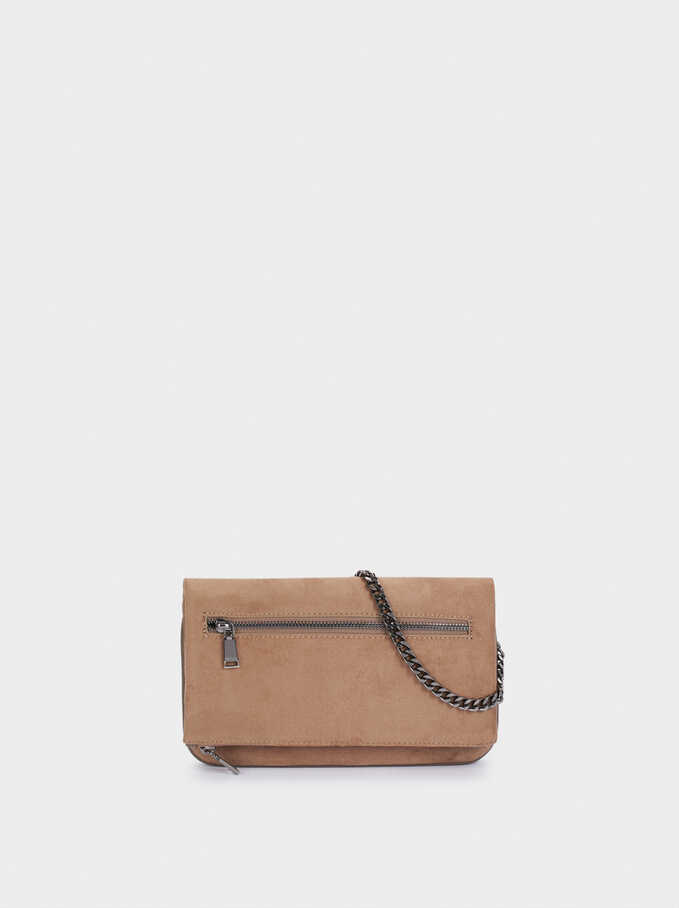 Textured Faux Suede Crossbody Bag With Removable Strap, Brown, hi-res