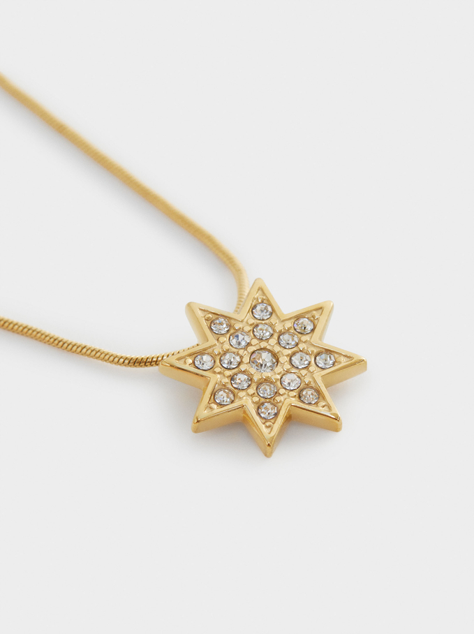 Short Steel Necklace With Star, Golden, hi-res