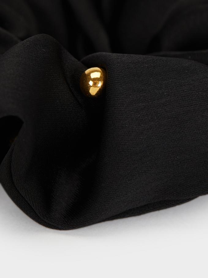 Hair Elastics With Beading, Black, hi-res