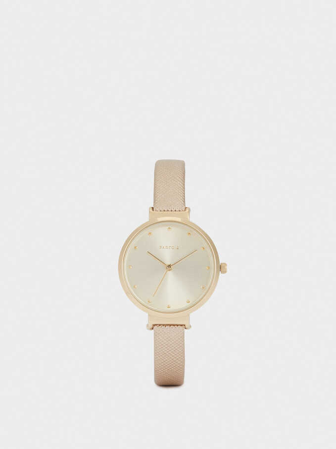 Watch With Embossed Wristband, Golden, hi-res