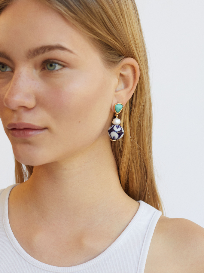 Long Earrings With Stone And Pearl, Blue, hi-res