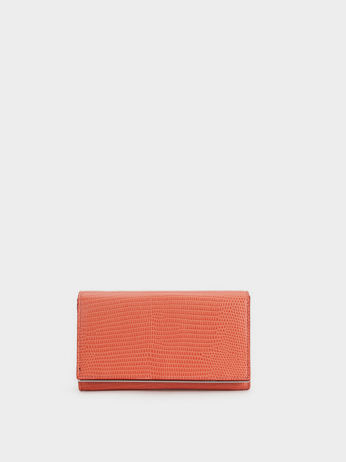 Faux Snakeskin Party Clutch, Coral, hi-res