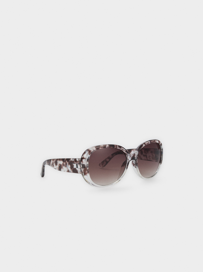 Sunglasses With Round Frame, Brown, hi-res