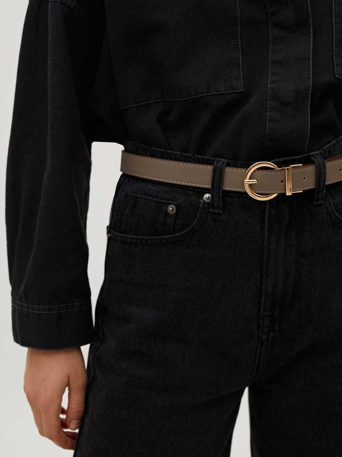 Cinturón Con Hebilla Dorada, Gris, hi-res