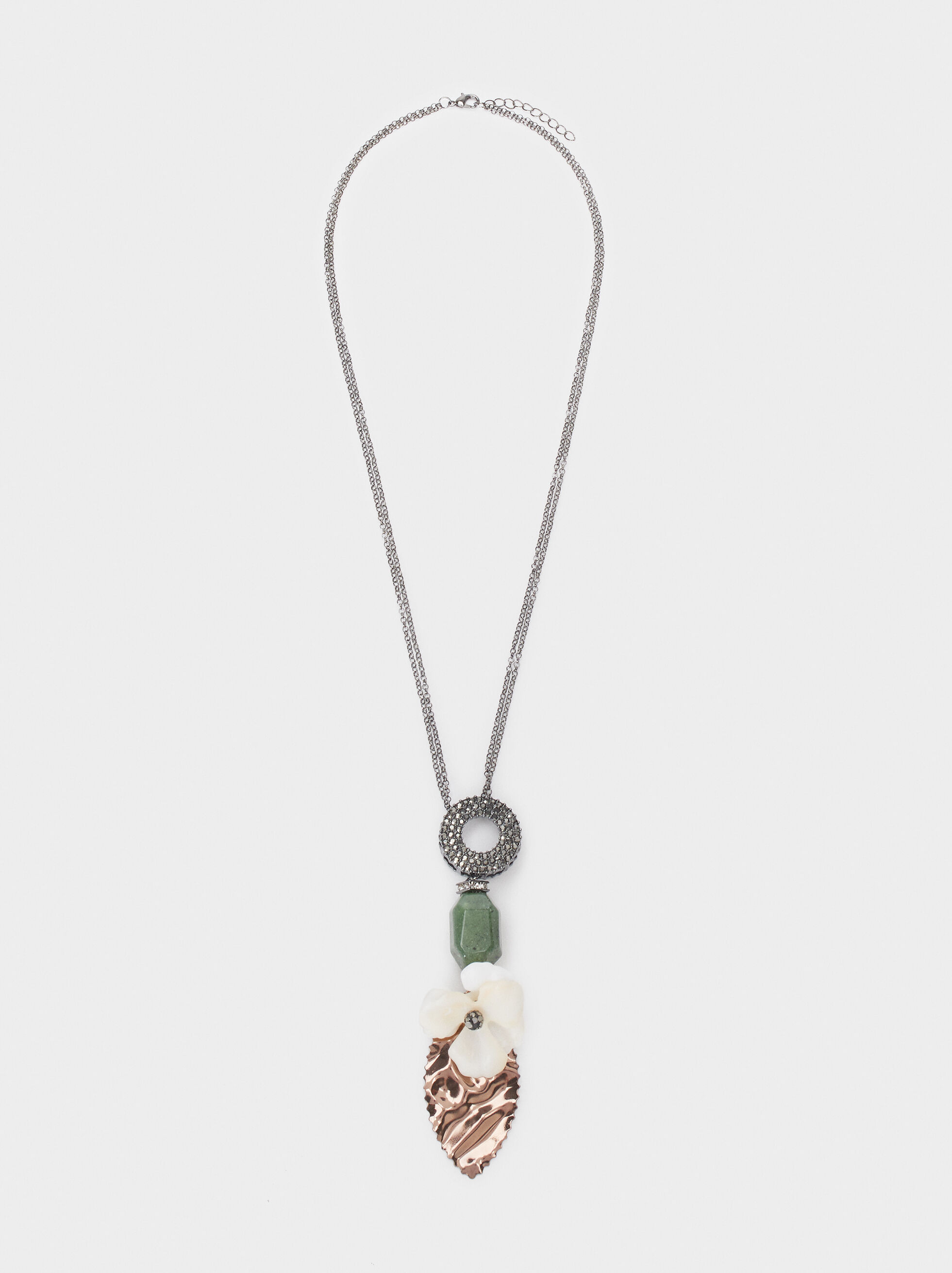 Long Necklace With Multicoloured Flower And Crystals, Multicolor, hi-res