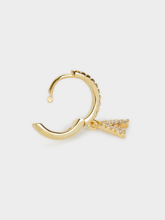 964 Sterling Silver And Zirconia Short Hoop With Initial, Golden, hi-res