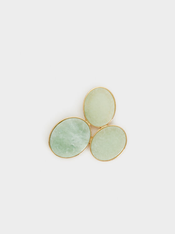 Green Beaded Brooch, Green, hi-res