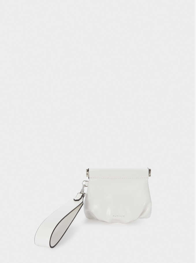 Purse With Wrist Strap, White, hi-res