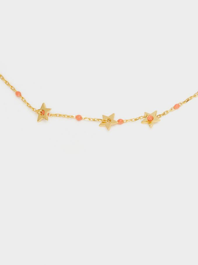 Pulsera Ajustable De Plata 925 Con Estrellas, Coral, hi-res