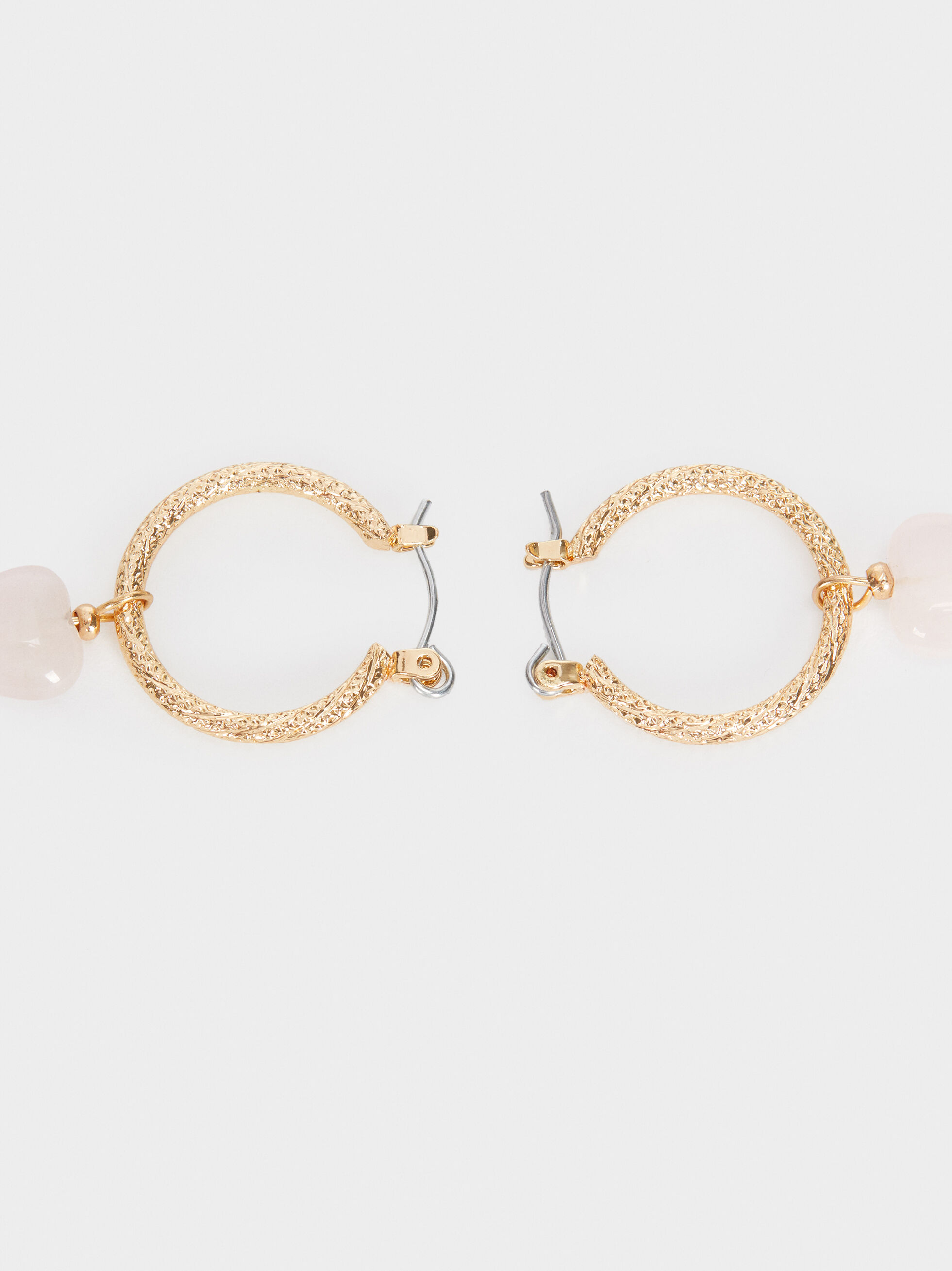 Pink Hoop Earrings With Stone Hearts, Grey, hi-res