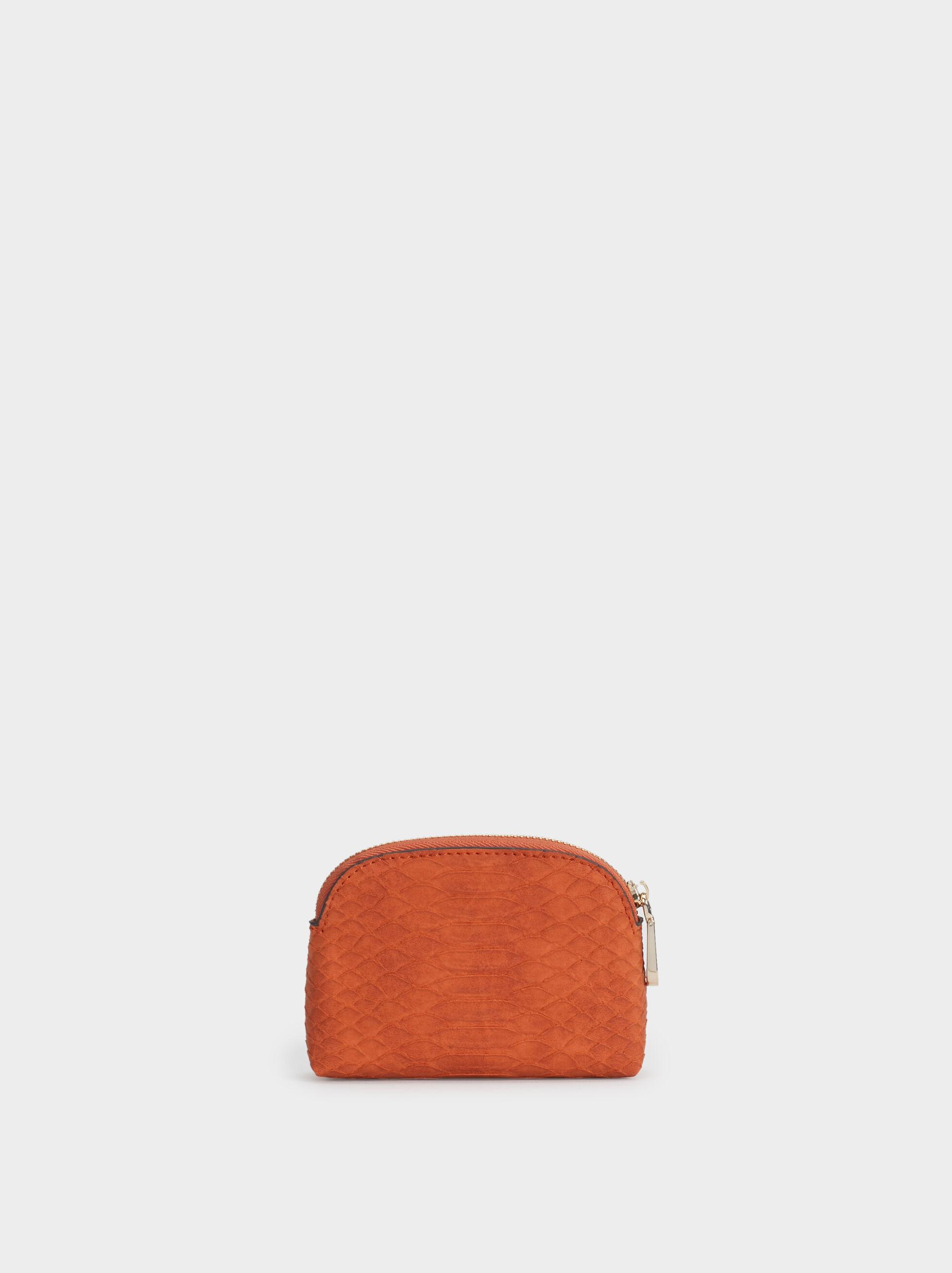 Small Faux Snakeskin Purse, Orange, hi-res