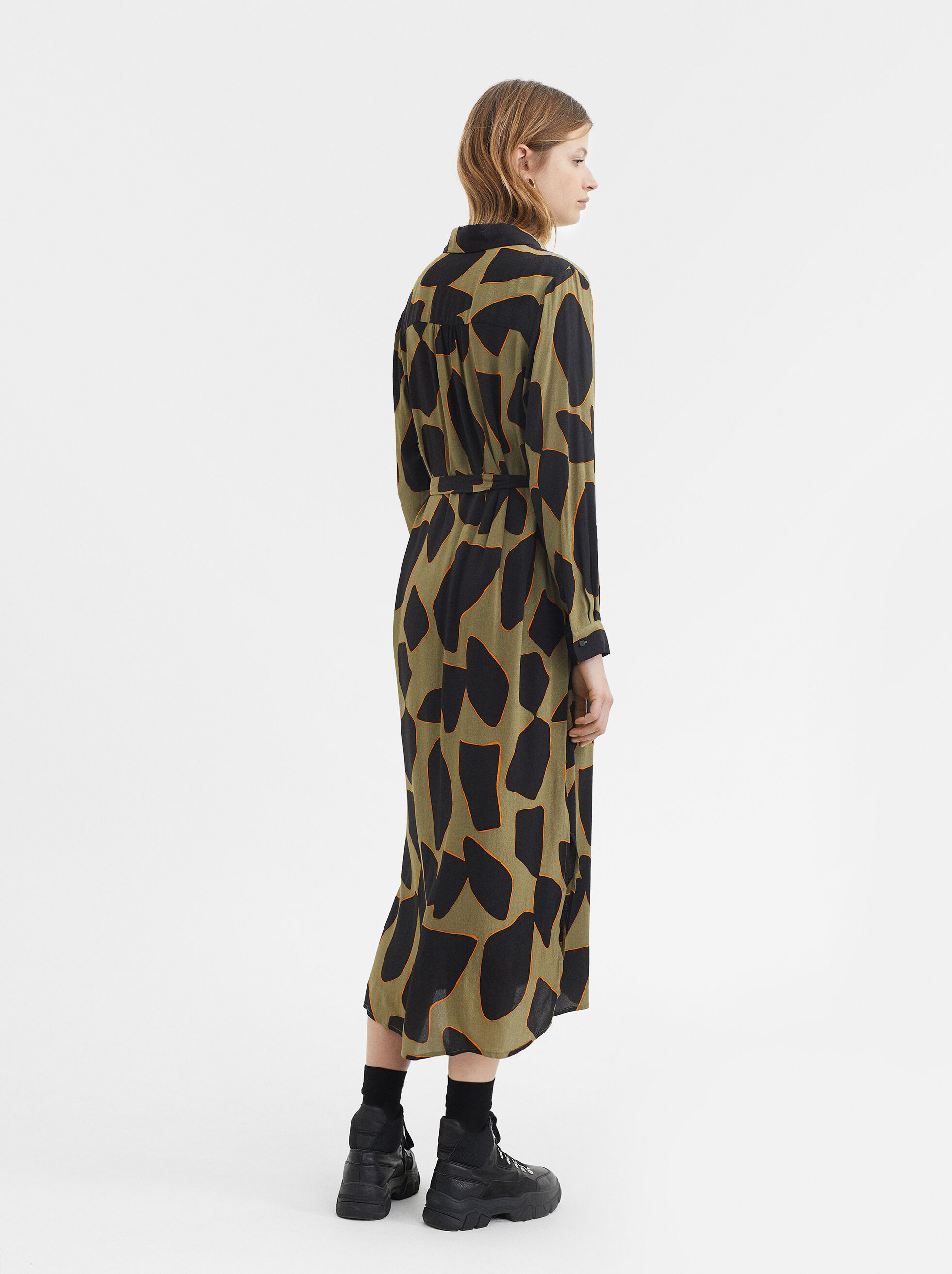 Printed Shirt Dress, Khaki, hi-res