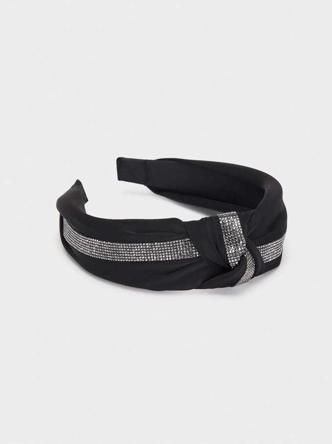 Wide Headband With Rhinestones, Black, hi-res