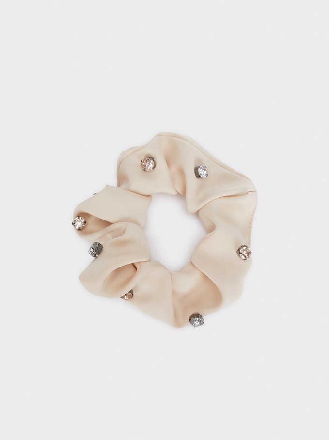 Scrunchie With Contrast Details, Beige, hi-res